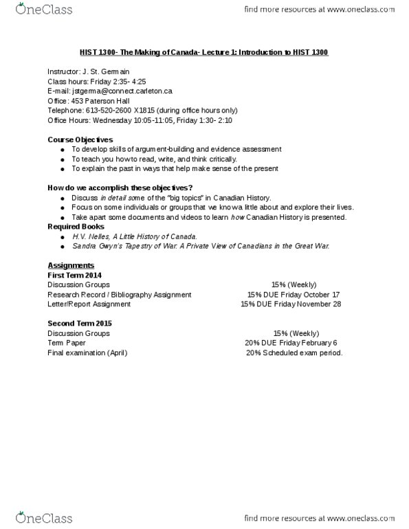 Class Notes for History at Carleton University - OneClass