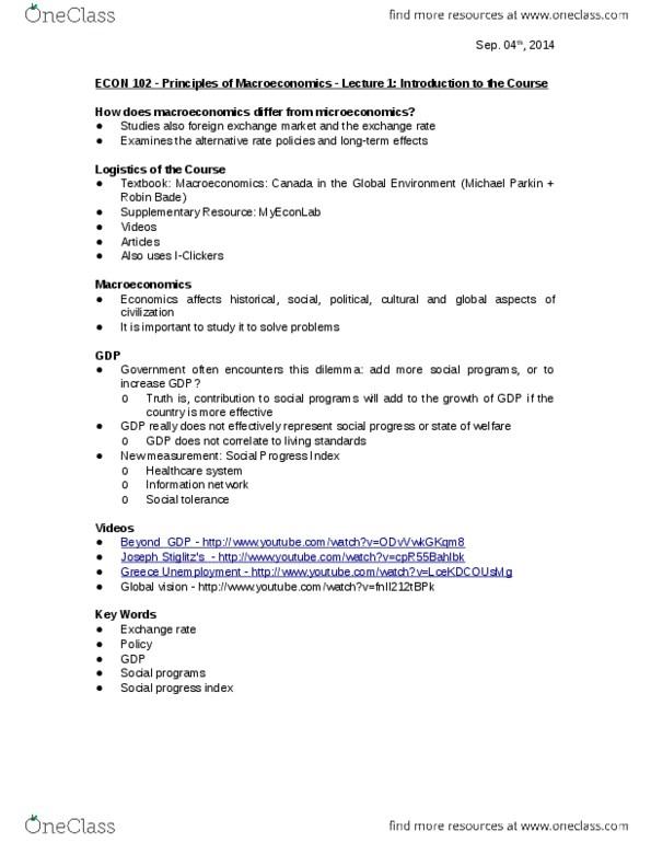 ECON 102 Principles Of Macroeconomics FINAL EXAM STUDY