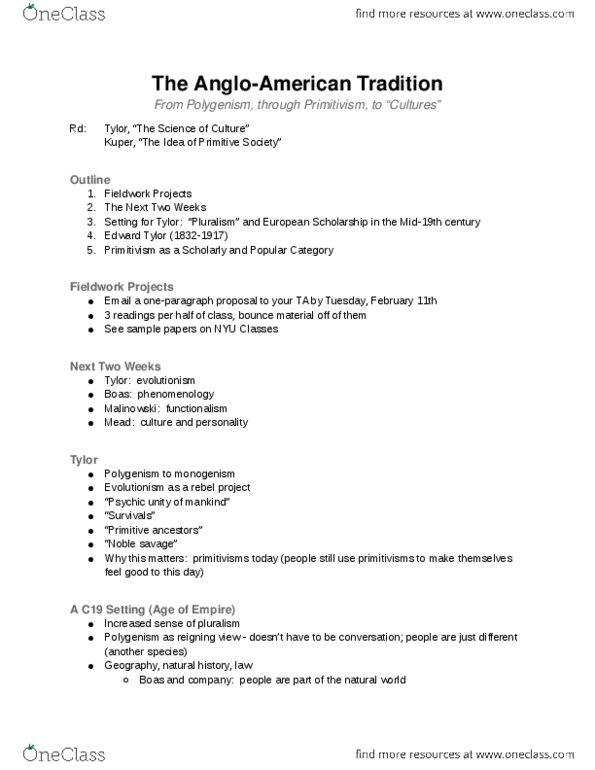 Class Notes for Anthropology at New York University (NYU