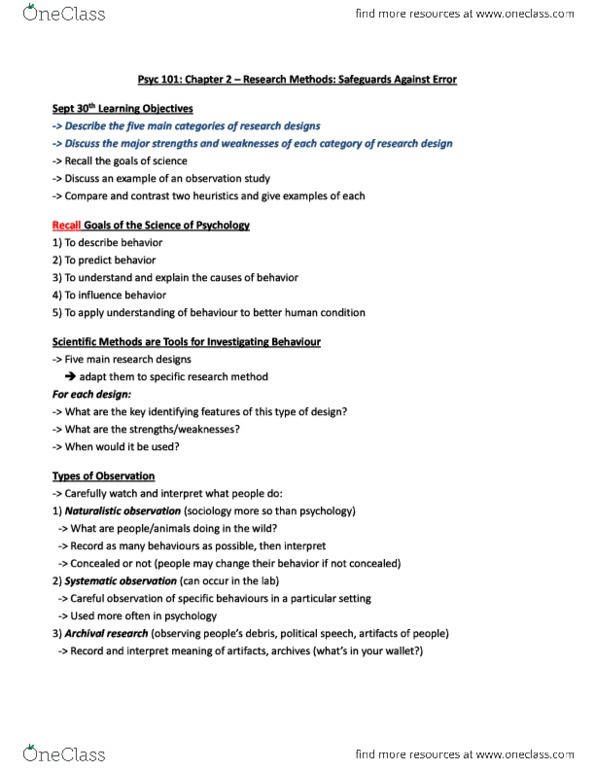 Psyc 101 Chapter 2 Research Methods Safeguards Against Error