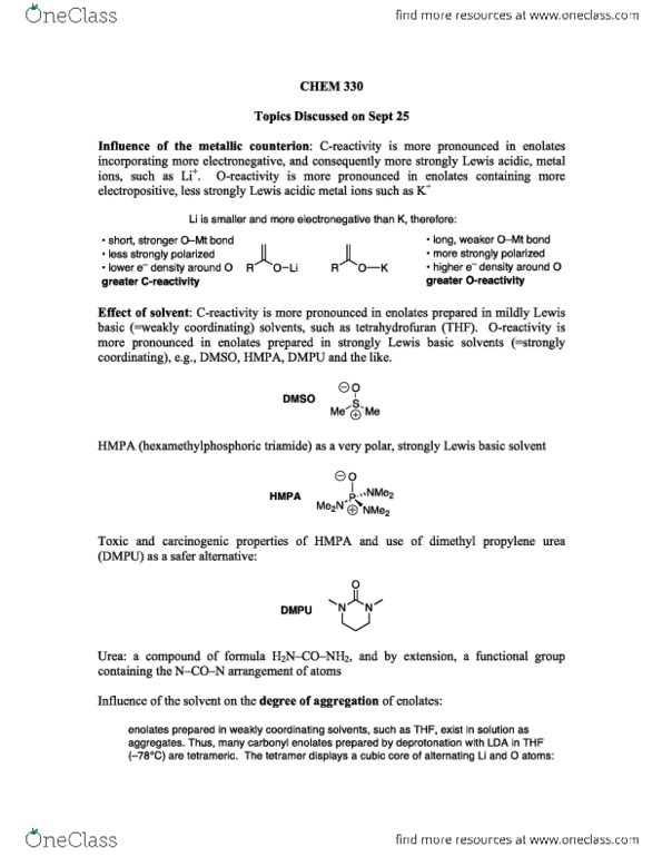 Class Notes for CHEM 330 at University of British Columbia (UBC