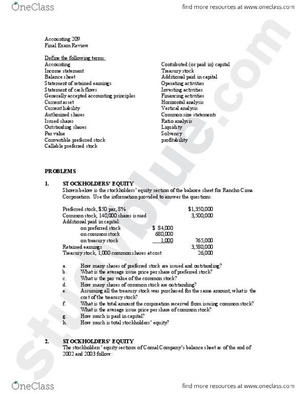 ACCT 209 Study Guide - Final Guide: Treasury Stock, Preferred Stock, Common  Stock