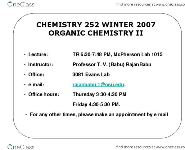 Study Guides for CHEM 2520 at Ohio State University (OSU) - OneClass