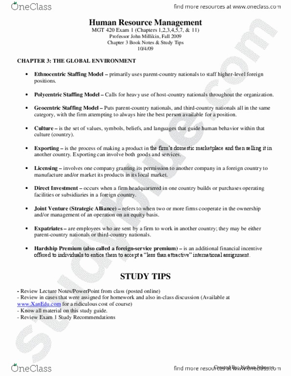 MGT 420 Study Guide - Final Guide: Nathan Johnson (Musician)