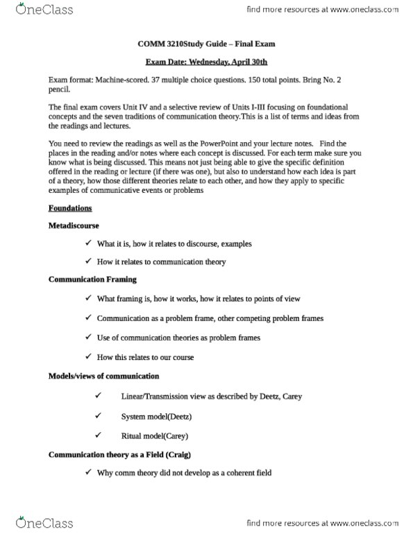 COMM 3210 Study Guide - Final Guide: Communication Theory, Cultivation  Theory, Social Cognitive Theory