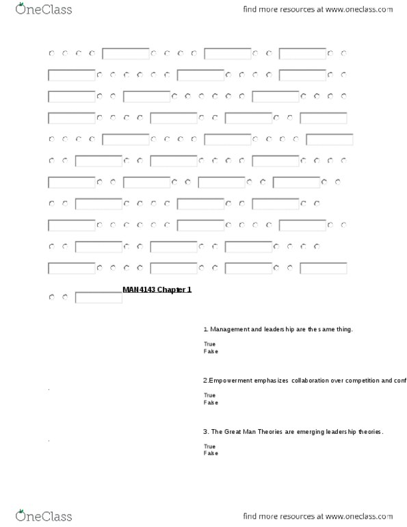 MAN-4143 Study Guide - Spring 2011, Quiz - Applied