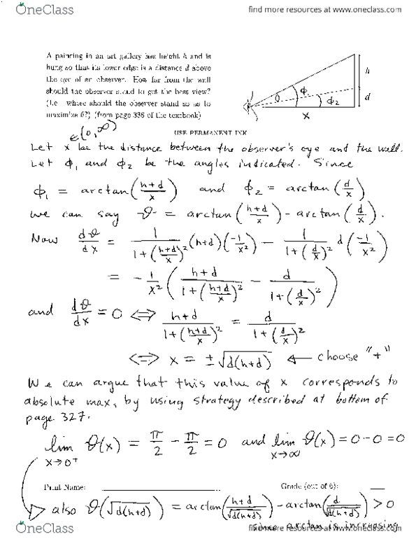 All Educational Materials for Calculus 1000A/B at Western