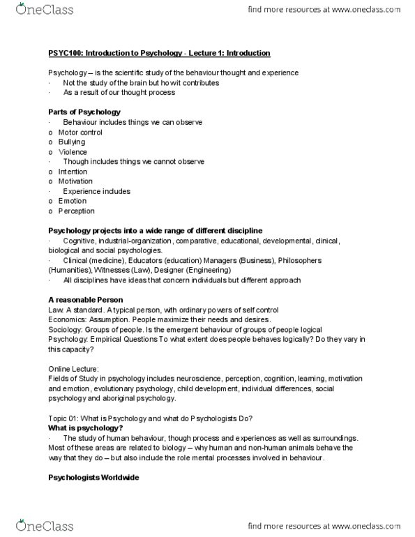 PSYC 100 Lecture Notes - Lecture 2: Scientific Method, Informed Consent,  Operational Definition