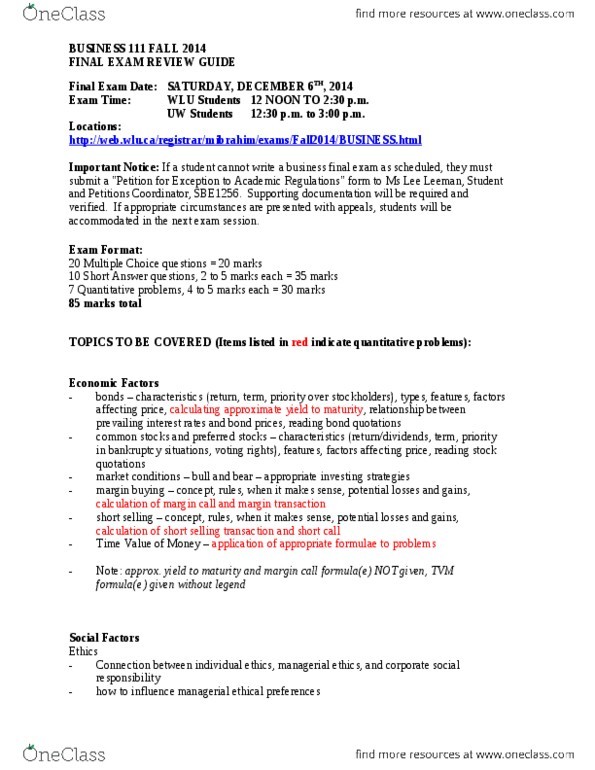 BU111 Study Guide - Fall 2014, Final - Complementary Good, Switching