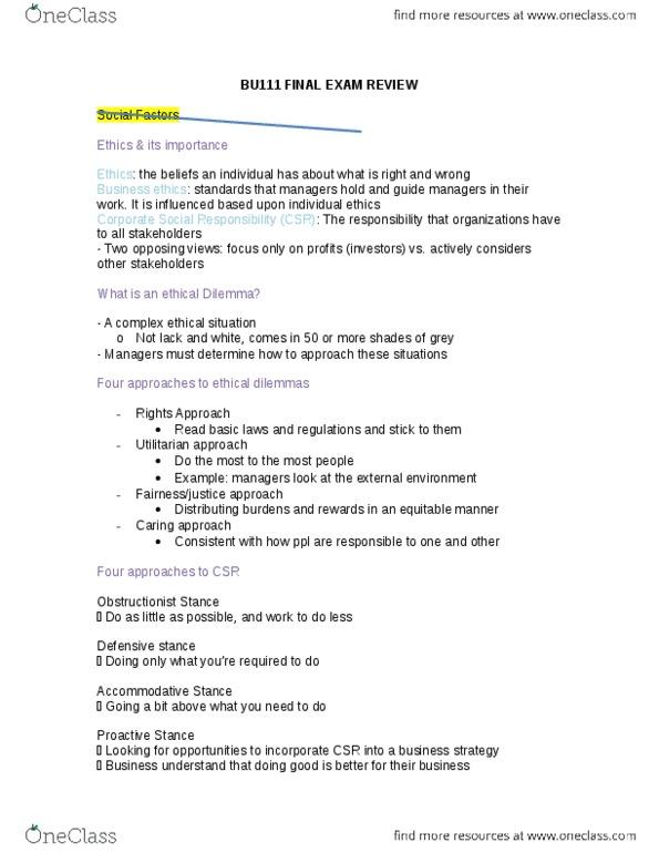 BU111 Study Guide - Fall 2014, Final - Corporate Social