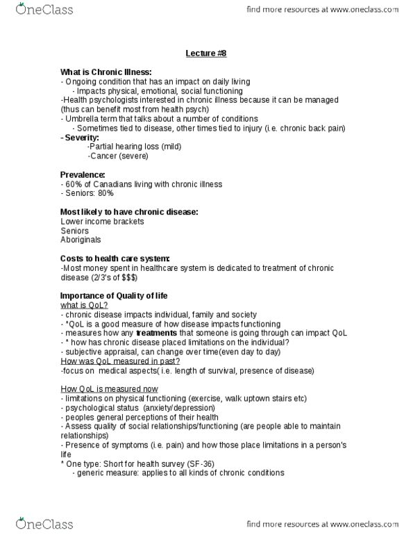 PSYC 3170 Lecture Notes - Lecture 8: Chronic Condition, South Dakota  Highway 10, Suicidal Ideation