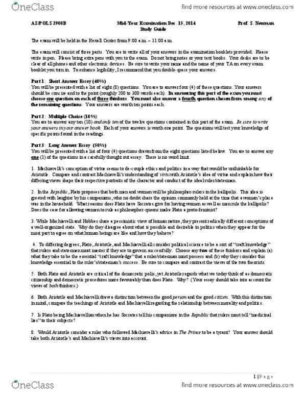 pols 2900 essay