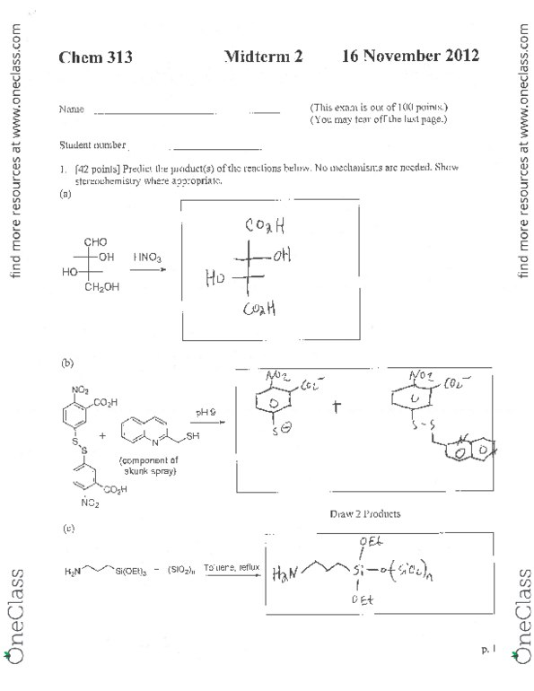 CHEM 313 Study Guide - Hydrolysis, Fischer Projection, Acetonitrile