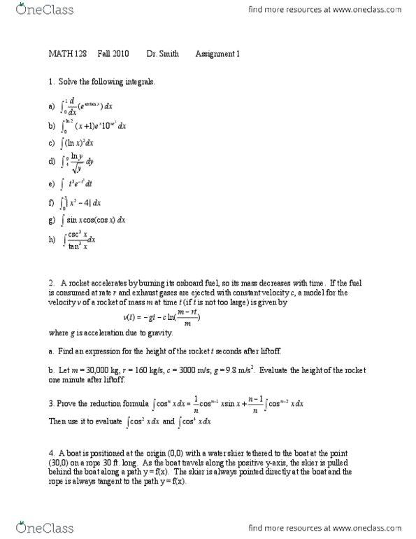 MATH128 Study Guide - Summer 2014, Quiz - Water Skiing