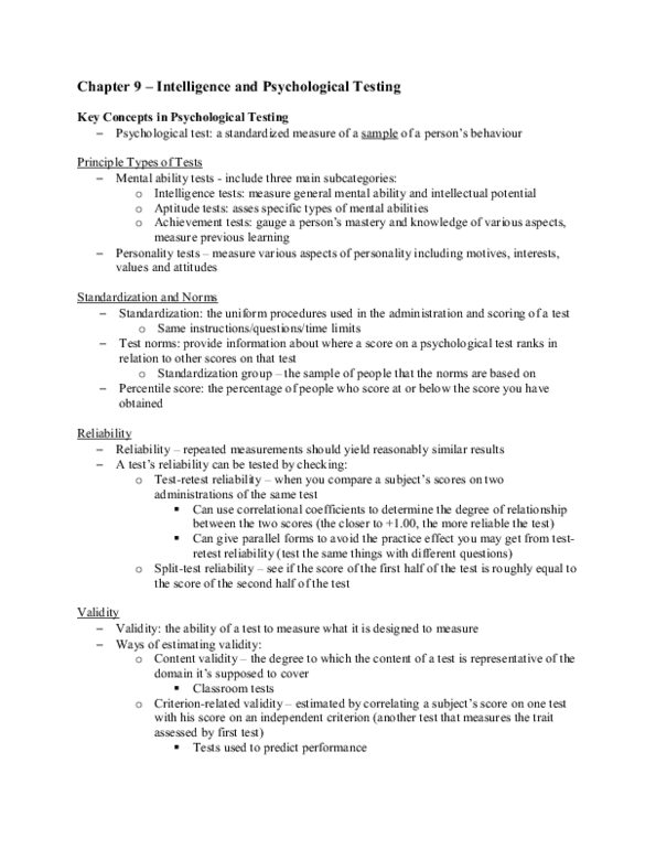 Chapter 9 - Intelligence and Psychological Testing - OneClass
