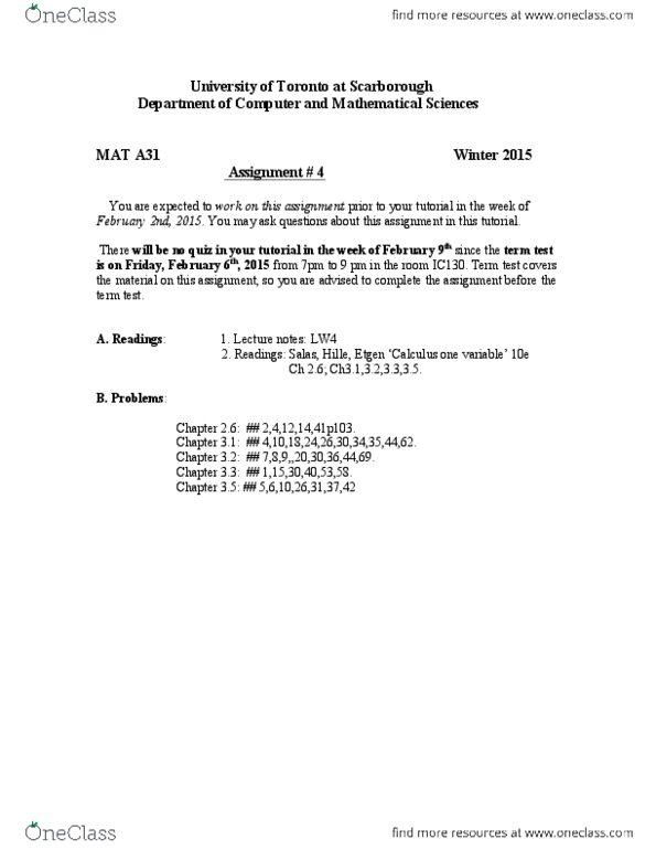 MATA31 Lecture 1: A31 A_4 pdf - OneClass
