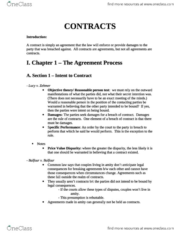 Bockrath Contracts Slim Outline Need To Read To Do Well Oneclass