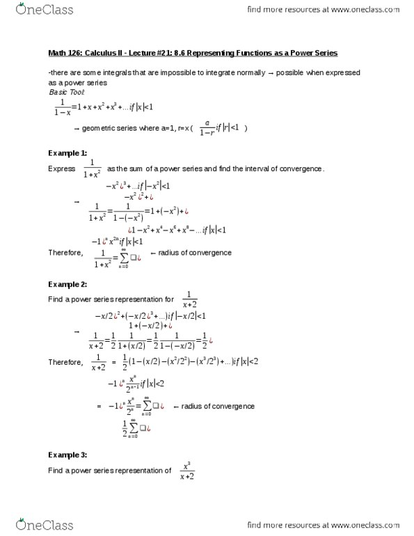 MATH 126 Lecture 21: 8 6 Representing Functions as a Power Series