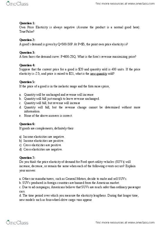 BUS 207 Study Guide - Quiz Guide: Kilogram, Margarine, Marginal Cost