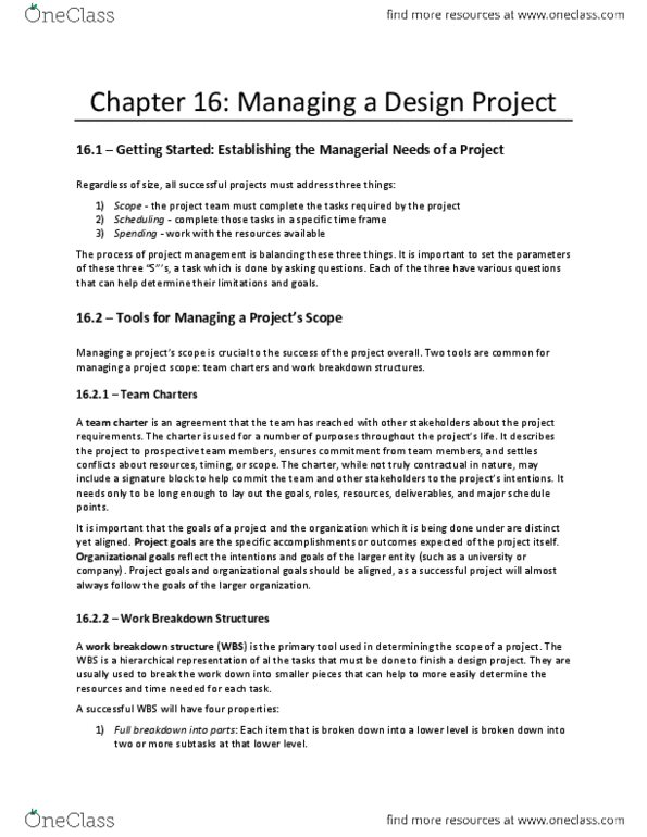 EGR 100 Chapter Notes - Chapter 16: Work Breakdown Structure, Signature  Block, Flowchart