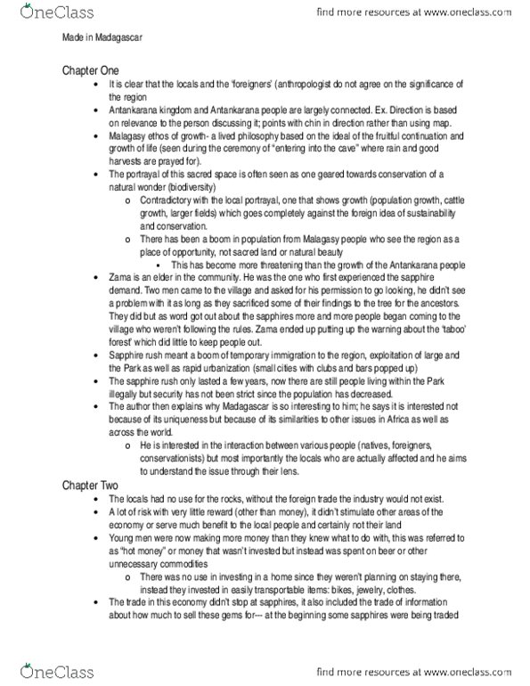 ANTB20H3 Textbook Notes - Spring 2015, Chapter 1-4 - Ecotourism