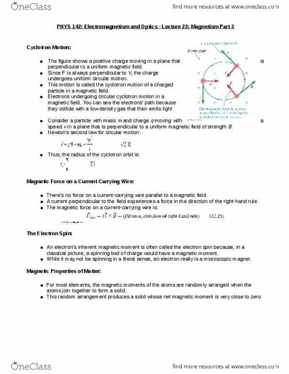 Class Notes for PHYS 142 at McGill University - OneClass