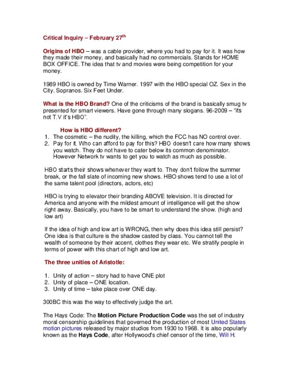 FILM 226 Lecture Notes - Winter 2012, - Motion Picture