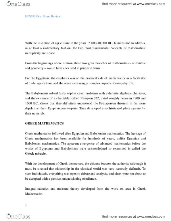 HPS100H1 Lecture Notes - Lecture 1: Hyperbola, Ellipse