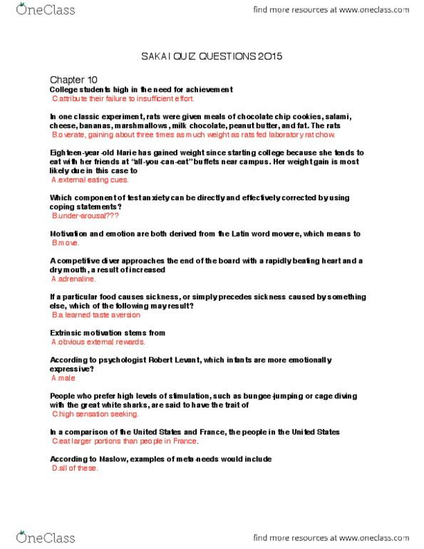 PSYC 1F25 Quiz: Sakai psyc questions 2015  pdf - OneClass