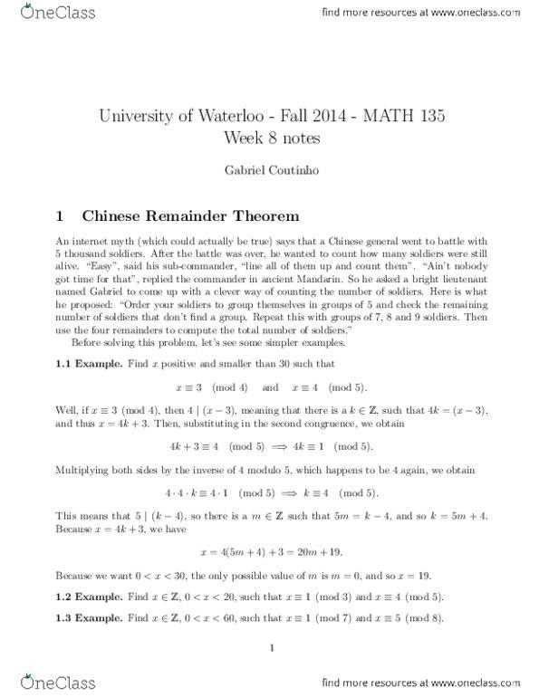 MATH135 Lecture Notes - Lecture 5: Coprime Integers, Extended Euclidean  Algorithm