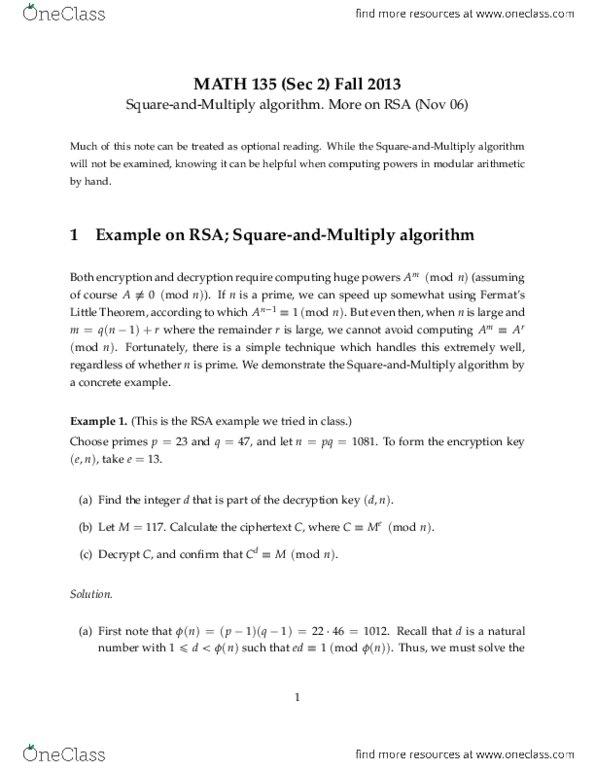 MATH135 Quiz: RSA pdf