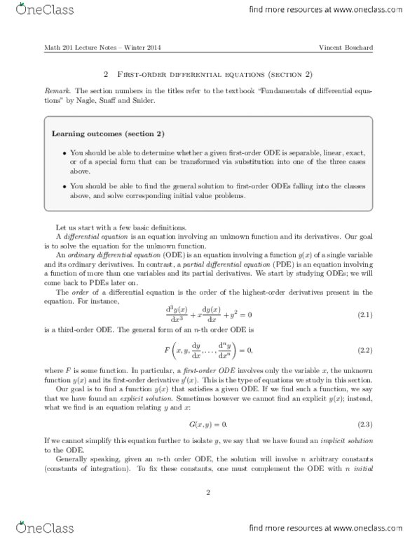 Textbook Notes for MATH201 at University of Alberta (U OF A