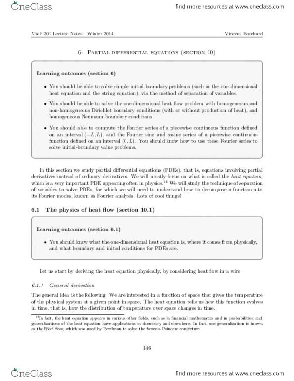 Textbook Notes for MATH201 at University of Alberta (U OF A) - OneClass