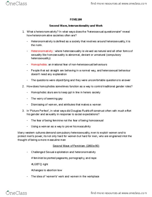 Class Notes for FEM 1100 at University of Ottawa (UOTTAWA