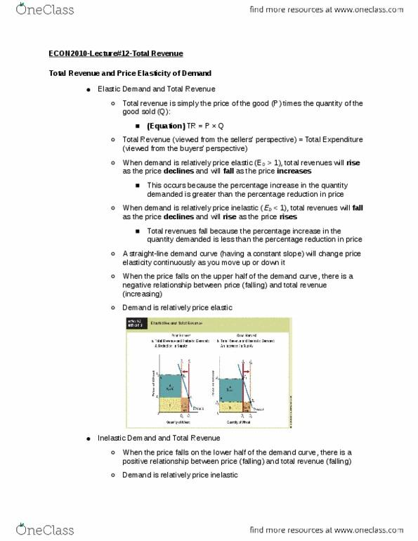 ECON 2010 Lecture 12: Total Revenue