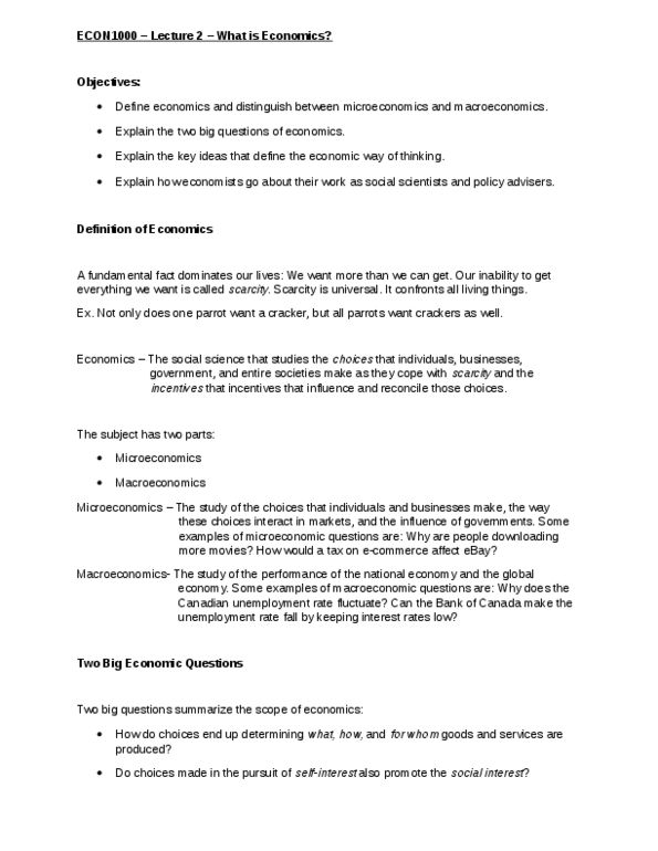 Class Notes for ECON 1000 at York University (YORKU) - OneClass