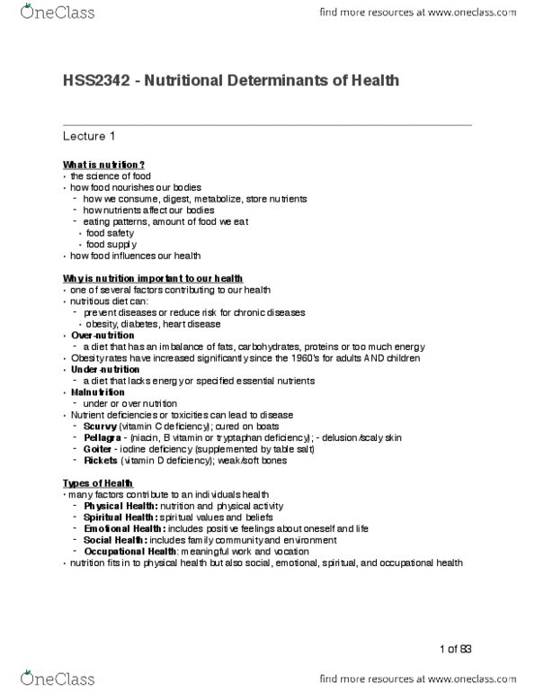 HSS 2342 Final: Full Class Notes HSS2342