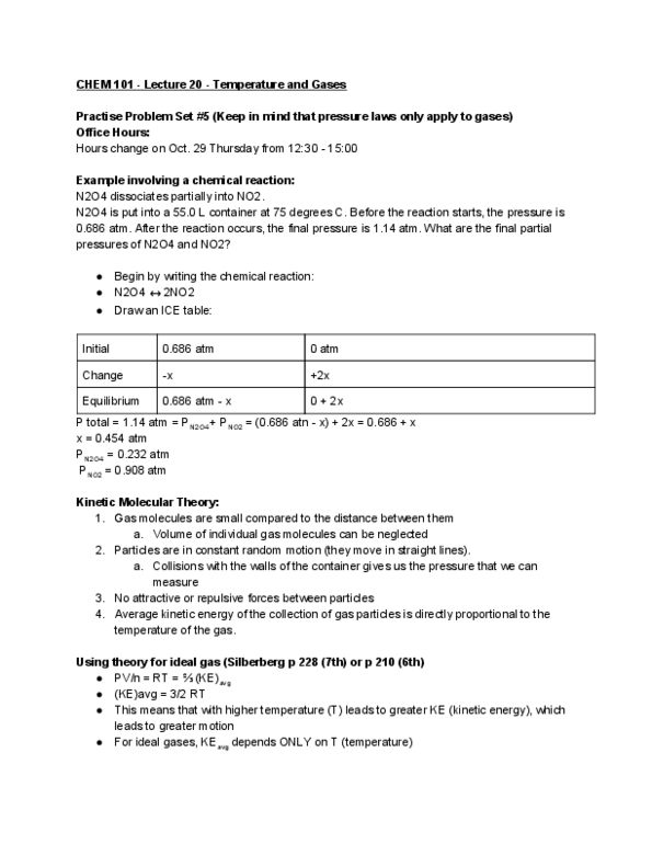 CHEM101 Lecture Notes - Lecture 20: Ideal Gas, University Of Manchester,  Molar Mass