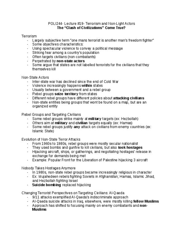 Class Notes for POLI 244 at McGill University - OneClass