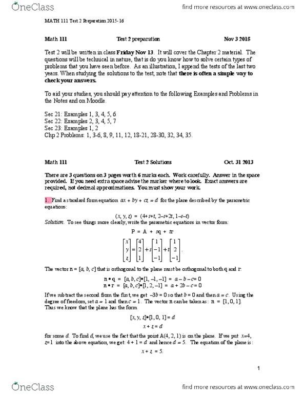 MATH 111 Study Guide - Midterm Guide: Parametric Equation, Linear  Combination, Hyperplane