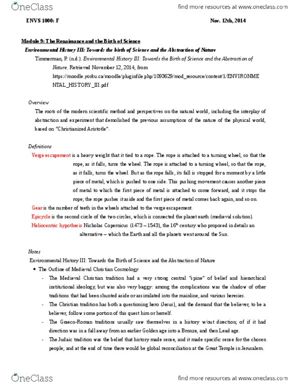 ENVS 1000 Chapter Notes - Chapter n/a: Verge Escapement, Deferent And  Epicycle, Scientific Method