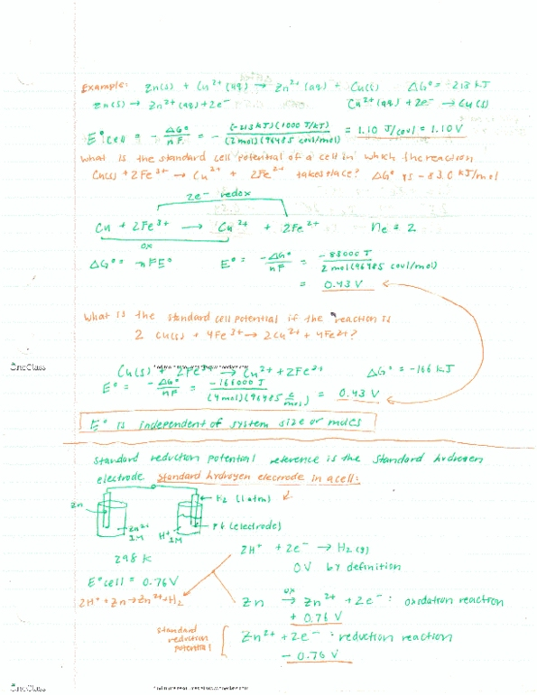 Class Notes for Chemistry and Biochemistry at University of