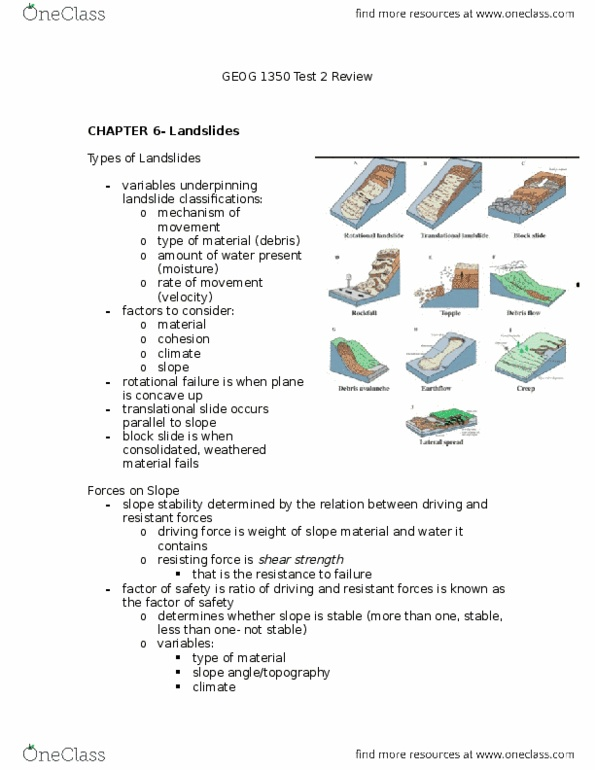 GEOG 1350 Study Guide - Midterm Guide: Pore Water Pressure, Slope  Stability, Ground Pressure