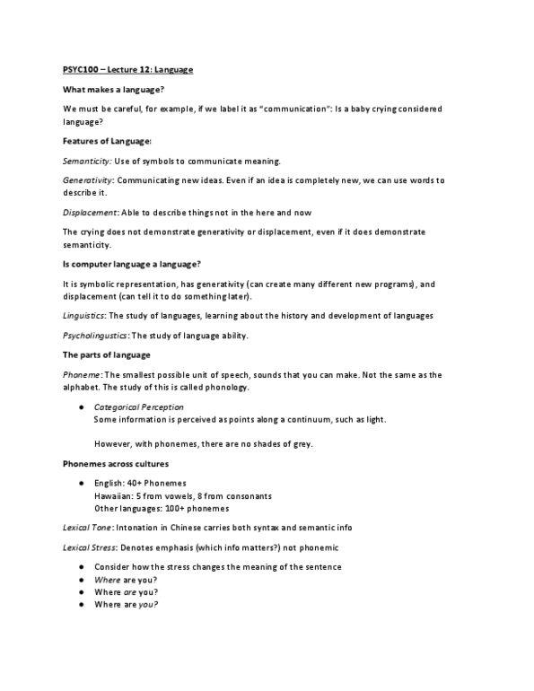 PSYC 100 Lecture Notes - Lecture 12: Computer Language, Phoneme, Binoculars