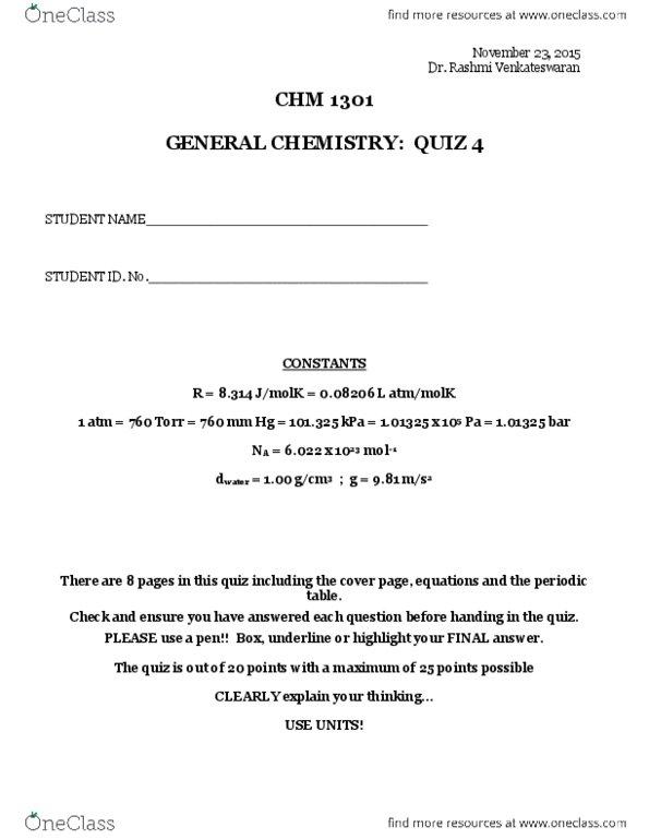 CHM1301 Quiz: Quiz 1 questions + answer 2015