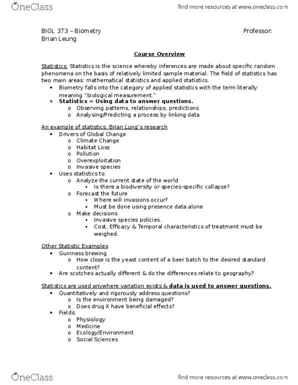 All Educational Materials for BIOL 373 at McGill University