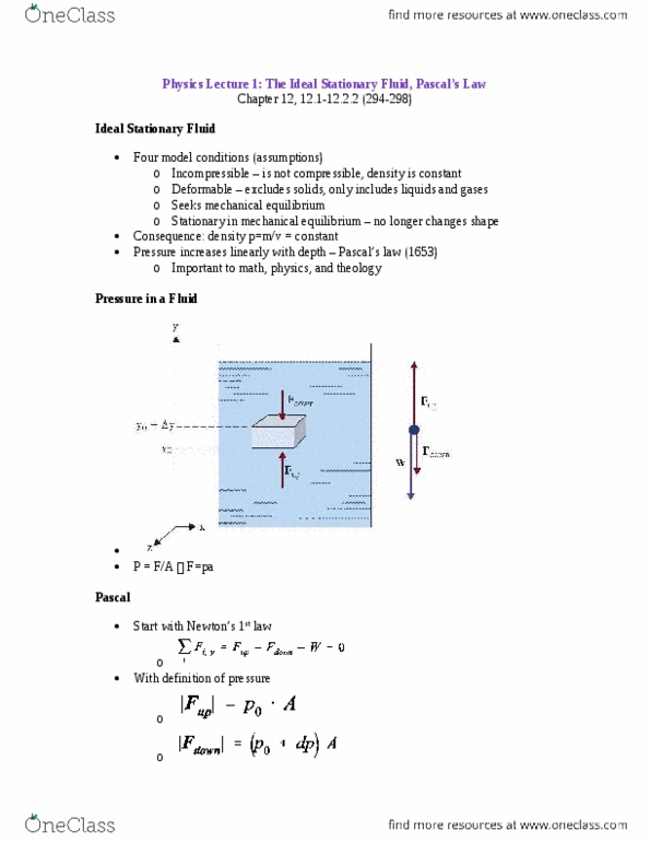 Physics 1029A/B Chapter Notes - Chapter 7-11: Ideal Gas Law, Electric  Potential Energy, Thermal Equilibrium