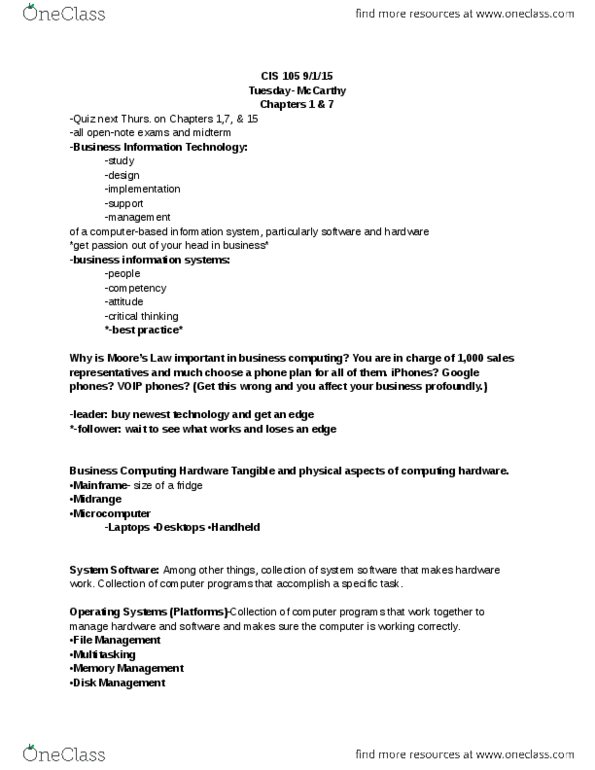 CIS 105 Study Guide - Final Guide: Howa, Management System