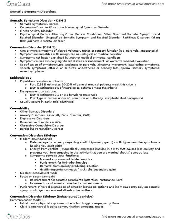 PSYCH 2AP3 Final: 6 - Somatic Symptom Disorders - OneClass