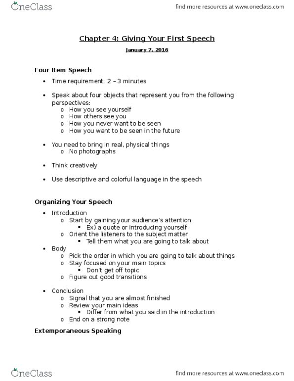 SPC2608 Lecture 3: Chapter 4 - Giving Your First Speech